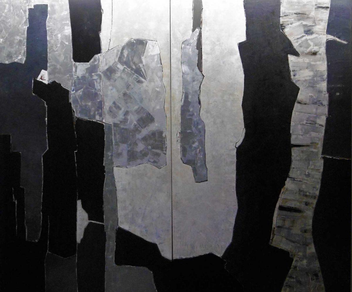 Boswandeling bij nacht, Zussen, Expressionistich Abstract, Wim Zorn Kunstenaar